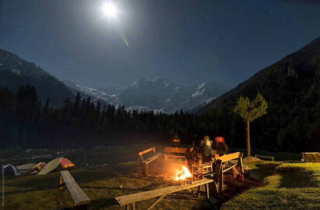 bonfire at fairy meadows, nanga parbat